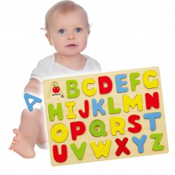 Puzzle do nauki Alfabetu Drewniana układanka Viga Toys