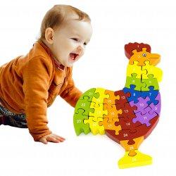 Drewniana układanka Puzzle Kogucik 3D Viga Toys