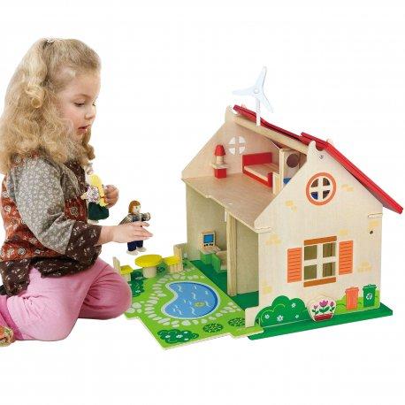 VIGA Drewniany Domek dla lalek Meble 2 Lalki Ekologiczny