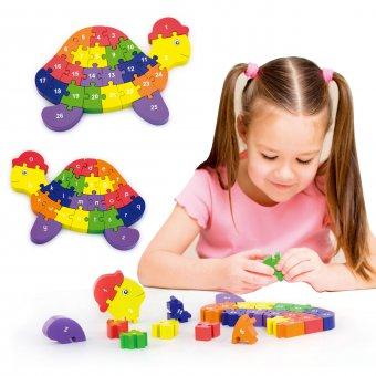 Drweniane Puzzle 3D Edukacyjna Układanka Alfabet Cyferki Żółw Viga