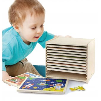 Puzzle drewniane 12 tablic po 24 puzzle na stojaku Viga Toys 288 elementów