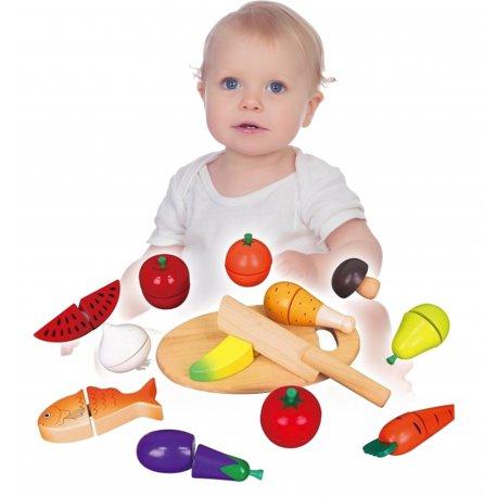 Viga Drewniany Zestaw Owoce Warzywa Mięso Deska Nóż do krojenia
