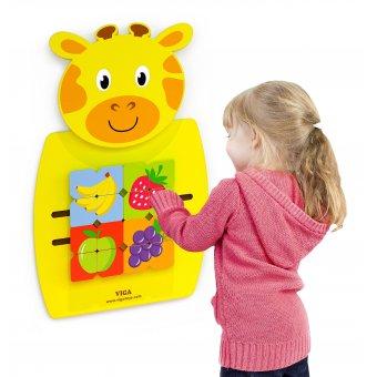 Sensoryczna Edukacyjna Tablica Manipulacyjna Żyrafa Drewniana Viga Toys Układanka