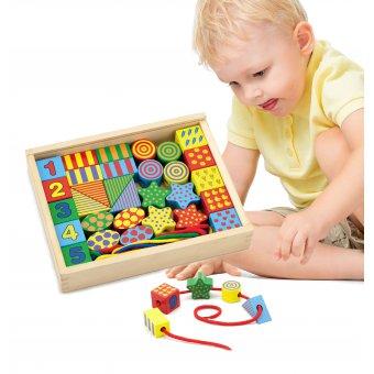 Drewniane Klocki Edukacyjne do nawlekania Przeplatanka dla Dzieci Viga Toys