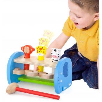 Drewniana Przebijanka Wbijanka Skaczące Zwierzątka Młotek Viga Toys