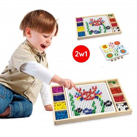 Drewniana układanka Gra chińczyk 2w1 Mozaika Viga Toys
