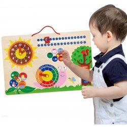 Viga Drewniana Tablica edukacyjna - zegar i kalendarz