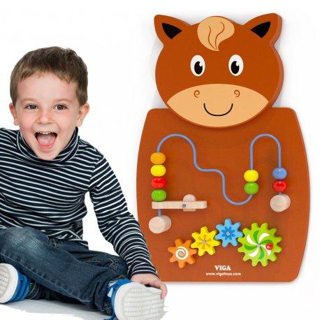Drewniana Gra z przeplatnką i kołami zębatymi Koń Viga Toys