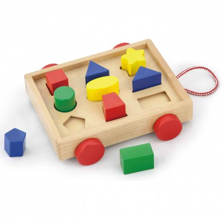 Drewniany Sorter Wózek dla dzieci z klockami Viga Toys