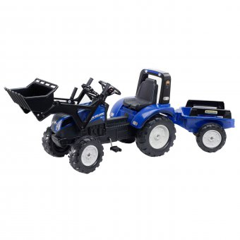New Holland Duży Traktor na pedały z przyczepą i łyżką FALK