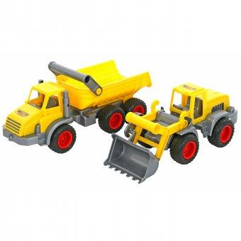 Zestaw dwóch pojazdów Traktor ładowarka i Ciężarówka wywrotka Wader QT