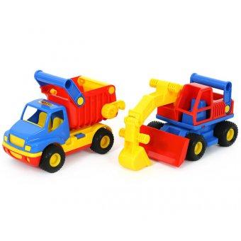 Ciężarówka wywrotka Koparka spychacz gumowe koła 2w1