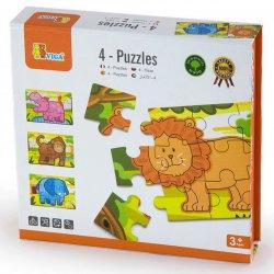 Drewniane Puzzle Safari Zwierzątka Viga Toys Układanka 4 Obrazki