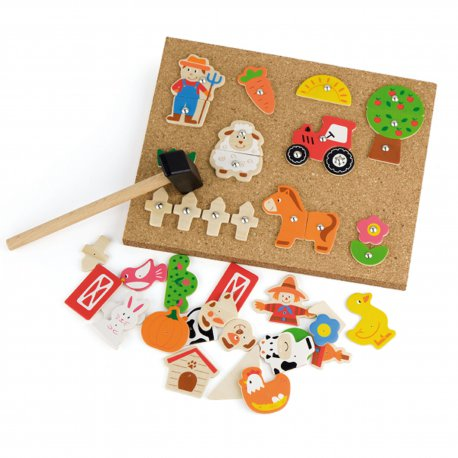 Przybijanka Drewniana Farma Viga Toys Korkowa Tablica
