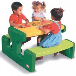 Little tikes Duży stół - stolik piknikowy zielono-żółty