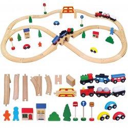 Drewniana Kolejka Pociąg Tor Stacja kolejowa 49 elementów Viga Toys