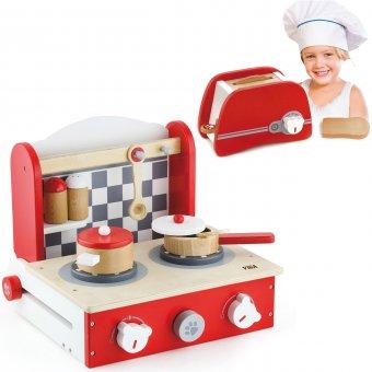 Viga Toys Drewniana rozkładana Kuchnia z blatem do gotowania + Toster