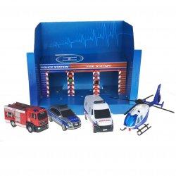 Baza ratunkowa SOS Policja Straż Karetka 3 Pojazdy + Helikopter Dickie