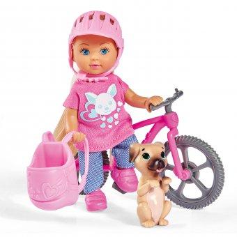 Lalka Evi Love na rowerze górskim akcesoria piesek Simba