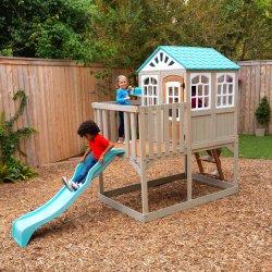 Drewniany domek ogrodowy dla dzieci ze zjeżdżalnią KidKraft Highline Retreat