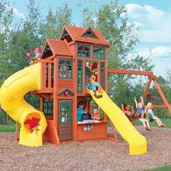 Ogromny Plac Zabaw Dla Dzieci Drewniany 2 Zjeżdżalnie Huśtawki Kuchnia Dla Dzieci