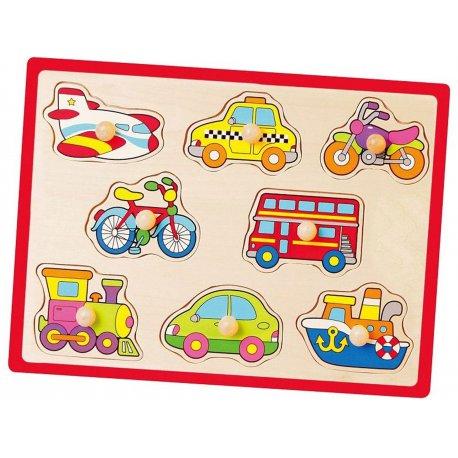 Drewniane Puzzle Pojazdy Układanka Viga Toys