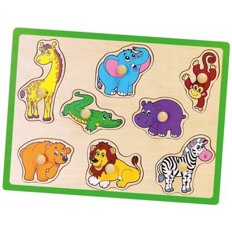 Drewniane Puzzle Zwierzęta z ZOO Układanka Viga Toys