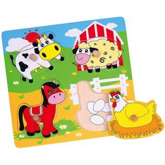 Drewniane Puzzle Farma Układanka Niespodzianka Viga Toys