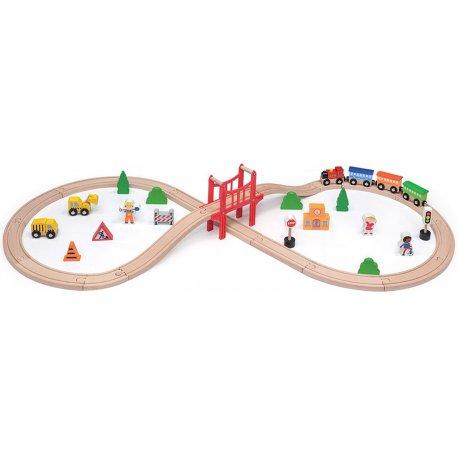 Drewniana Kolejka Pociąg Tor Stacja kolejowa 39 elementów Viga Toys