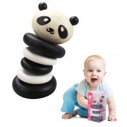 Grzechotka Drewniana Czarno-Biała Panda Classic World