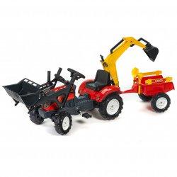 FALK Traktor RANCH czerwony z łyżką, ładowarką i przyczepą do piasku