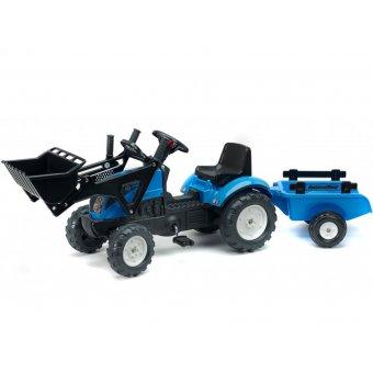 Traktor LANDINI POWERMONDIAL 110 z łyżką i przyczepą FALK