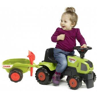 Claas Axos Traktor PRZYCZEPA Jeździk Zielony + Zestaw do Piasku FALK