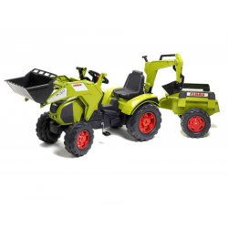 FALK Duży Traktor na pedały CLASS z przyczepą ładowarką koparką