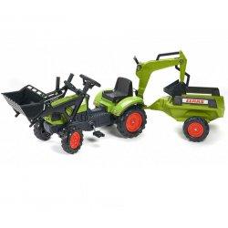 FALK Traktor CLAAS Arion zielony zestaw z przyczepą ŁYŻKA + Ładowarka