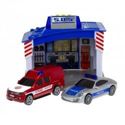 Baza ratunkowa SOS Policja Straż 2 Pojazdy Światło Dźwięk Dickie