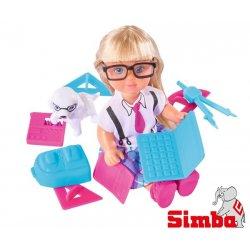 Simba Lalka EVI W Stroju Szkolnym Z Laptopem Akcesoria