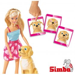 SIMBA Lalka Steffi z zabawnym pieskiem + akcesoria