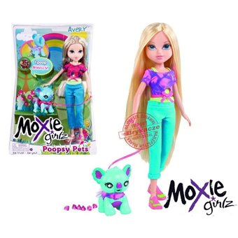 Lalka Moxie Grizl Avery ze zwierzakiem + diamenty Poopsy Pets